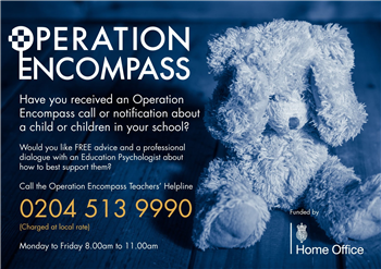 Operation Encompass Helpline poster